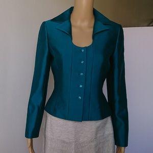 Tahari Peacock Green Wool Silk Blend Jacket Size 4